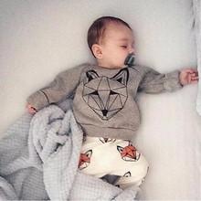 RY-166 Новый стиль хлопок новорожденного набор мультфильм фокс отпечатано детские костюм весна осень футболка + брюки 2 шт. одежда для bebes 2017(China (Mainland))