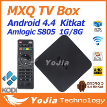 10 pz 1g/8g rom amlogic s805 quadcore kodi mxq tv box android 4.4 h.265 wifi lan miracast airplay hdmi vendita calda di trasporto libero(China (Mainland))