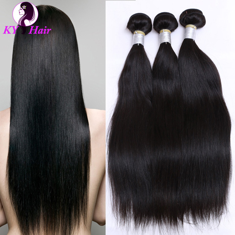 Grade 6a Brazilian Straight Hair With Closure Unprocessed Virgin Straight Hair Middle Part 4 Bundles No Tangle Free Shipping<br><br>Aliexpress