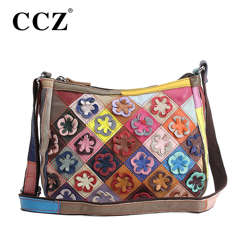 CCZ Genuine Leather Women's Shoulder Bag Fashion Patchwork Flower Women Cross Body Bags Colorful Tote Lady Messenger Bag SL048F(China (Mainland))