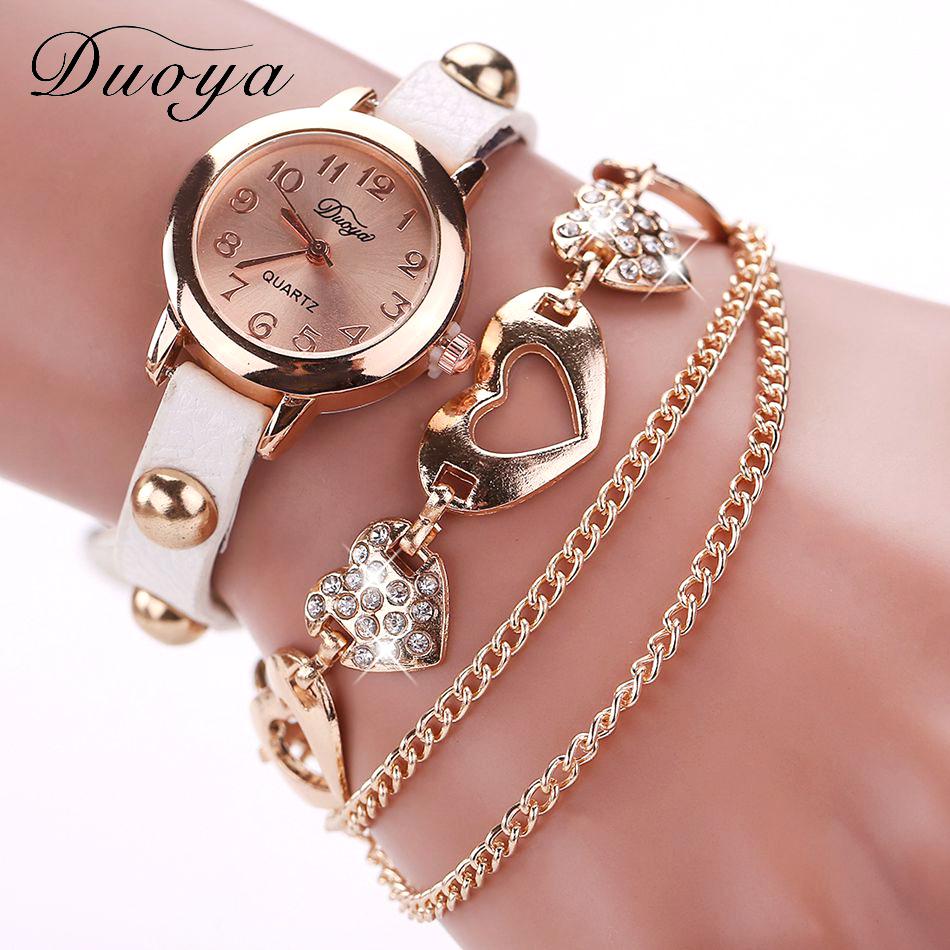 Duoya Watches Women Brand Gold Heart Luxury Leather Wristwatches Dress Bracelet Chain Watch XR746 - 77 Fashion store