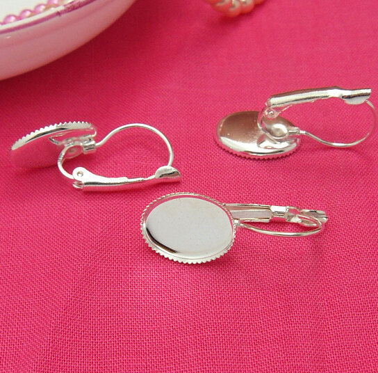200pcs(100 pairs) Silver Color Plated French Earring Hooks with 10x14mm Oval Gear Edge Setting(China (Mainland))