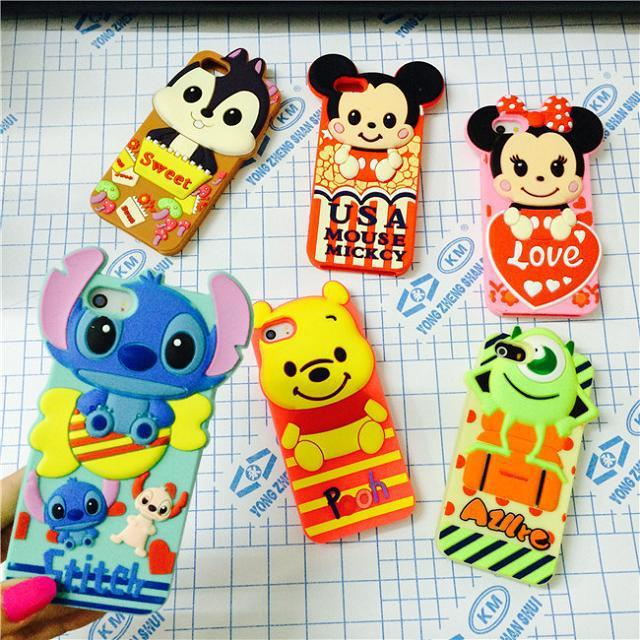 iphone 6 4.7'cute cartoon 3D Stitch Mike Pooh Minnie Mickey model silicon material Cover case 5 5G 5S
