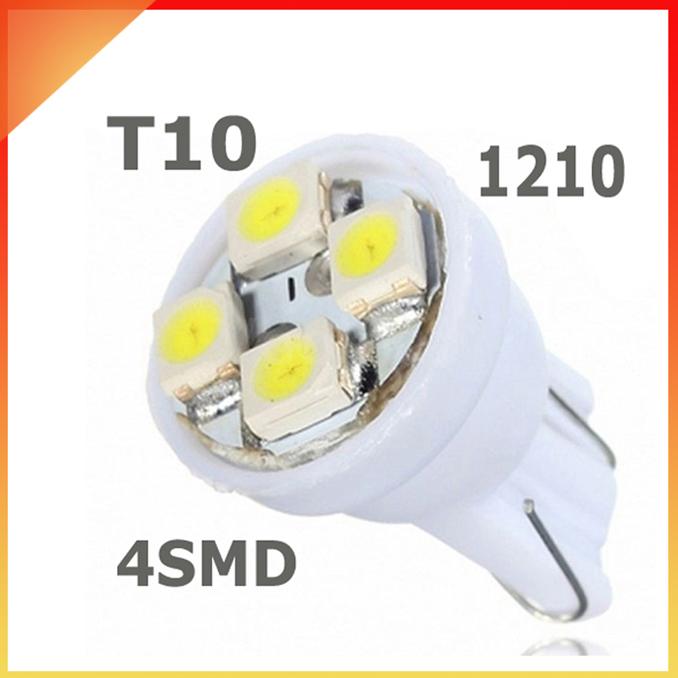 4pcs/lot Car Auto LED T10 194 W5W 4 led smd 3528 Wedge LED Light Bulb Lamp 4SMD White/Blue/Yellow/Green/Red(China (Mainland))
