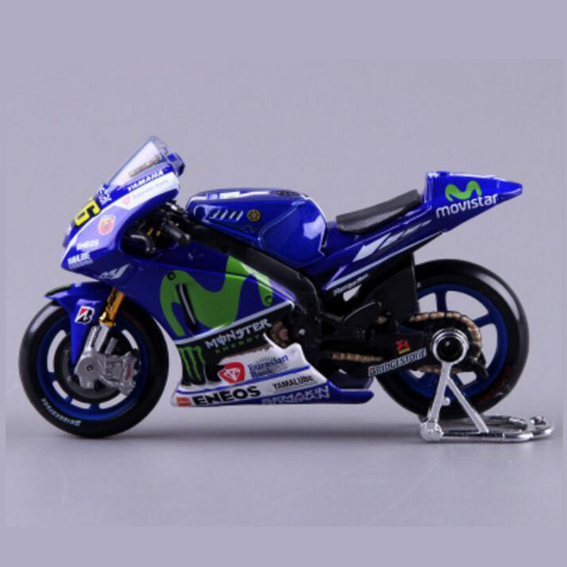 1/18 Maisto 2015 Yamaha No 46 and No 99 2014 Blue Motorcylce Diecast Model with Flexible Handles for Kids Gift Collection Gifts(China (Mainland))