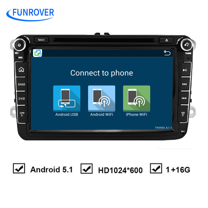 Funrover Android 2Din Car DVD Player for VW Passat B6 5 Golf mk6 5 Polo Jetta Tiguan CC RNS 510 for skodaoctavia fabia miralink(China (Mainland))