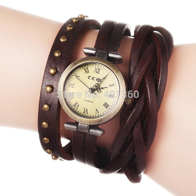 Drop shipping New Vintage Cowhide Spirally Wound Leather Band Weave Braid Bracelet Wrist Watch with Rivet
