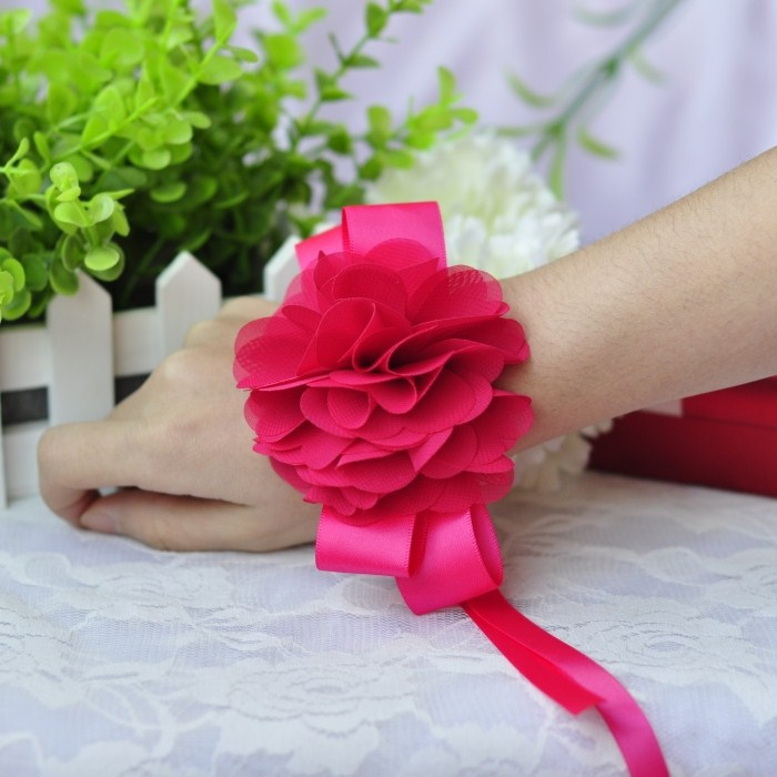 1 Rose red bridal wedding flower wrist bridesmaid hand decoration dance supplies - Yiwu Zilue Trading Co.,Ltd Store store
