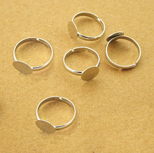 Buy 50pcs 10mm Pad Diy Silver -Plated Ring Base Anillo Adjustable Ring Blanks Glue Cabochon Rings Findings Material Handmade for $3.81 in AliExpress store