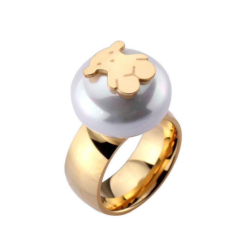 2015 Spain Jewelry Elegant Luxury Women Party Wedding 18K Gold Plated Titanium Steel Pearl Bear Ring Charm Cute Girls Loving - WZW Fashion Store store