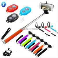 Handheld palo Selfie Stick Monopod pau de self holder Wireless Bluetooth Shutter Remote Control for iphone IOS Samsung S3 S4 S5