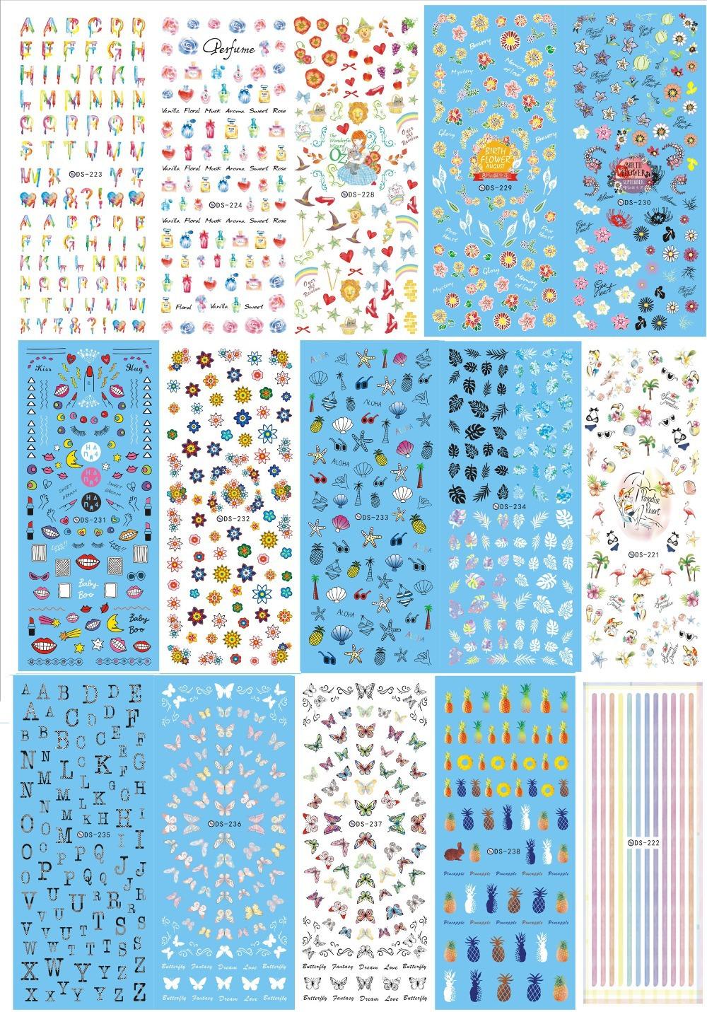 Mais novo DS221-238 série prego água arte decalque selo da etiqueta Starfish sereia Shell prego stamping