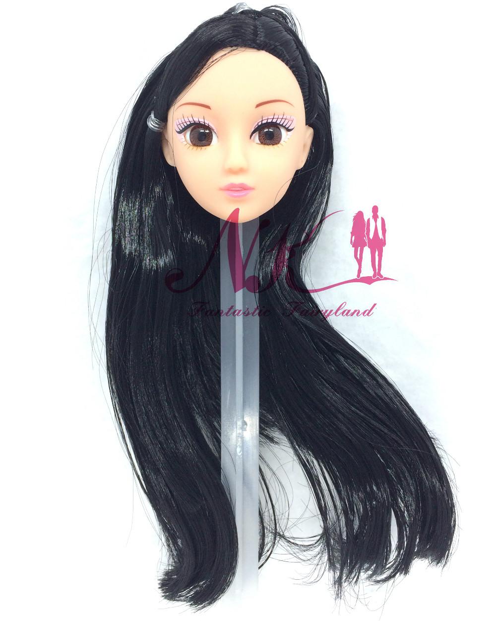 NK One Pcs Trend Doll Head  Black Hair DIY Equipment For Barbie Kurhn Doll Greatest Lady' Present Little one' DIY Toys 024A