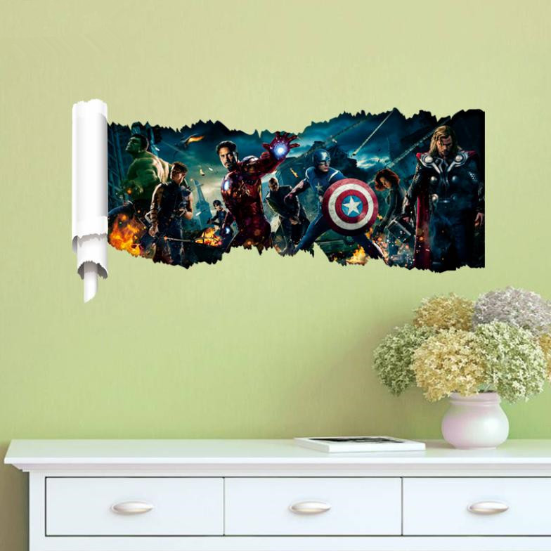 Super Hero Wall Decals Bedroom Movie Wall Art Diy Comic Wall Stickers For Kids Room Home Decoration 3D Cartoon Wall Sticker(China (Mainland))
