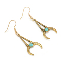 Vintage Blue Turquoise Moon Charm Dangle Earring Drop Earrings Ethnic Tribal Festival Jewelry Free shippings