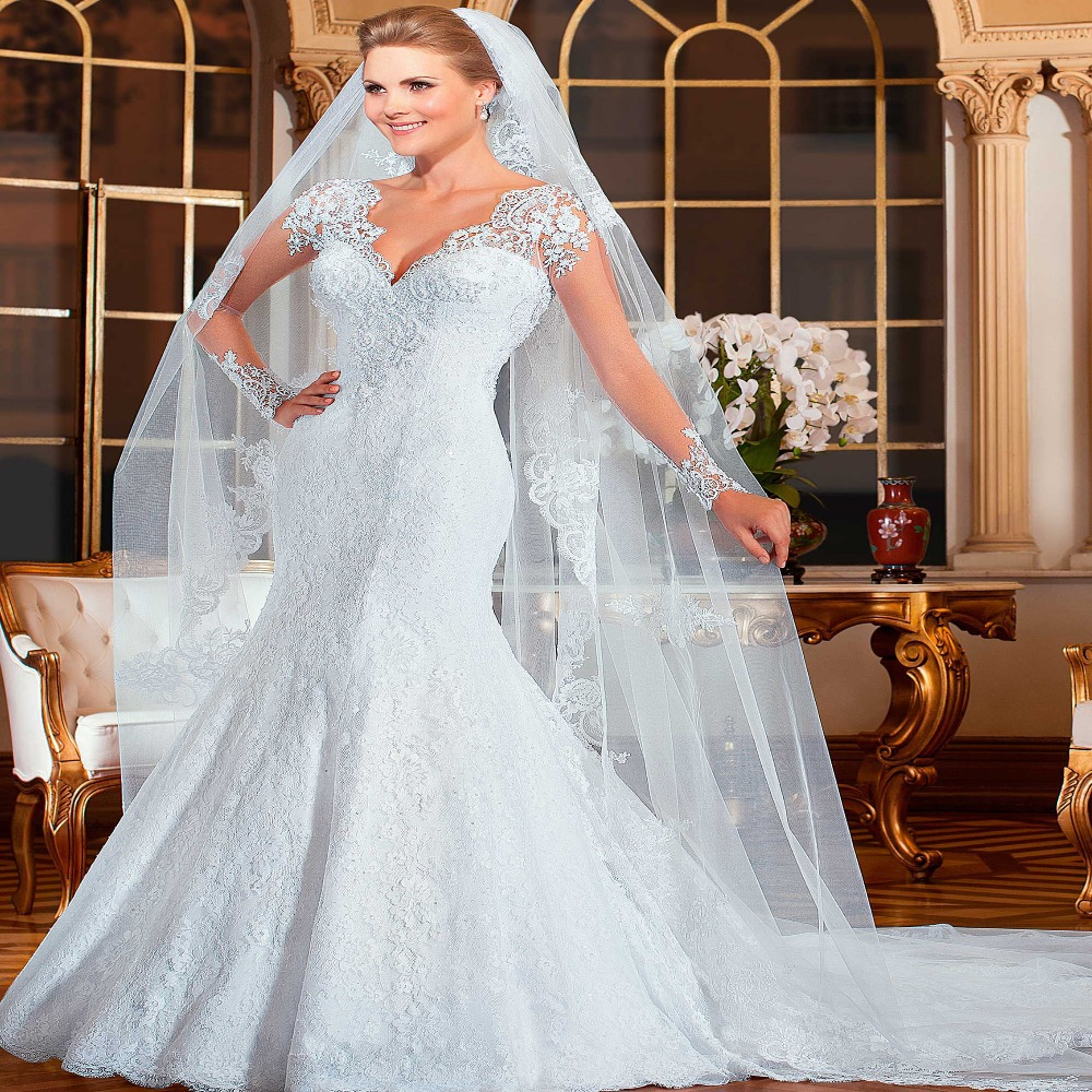 Sexy vestido de noiva mermaid lace wedding dress 2015 robe for See through lace wedding dress