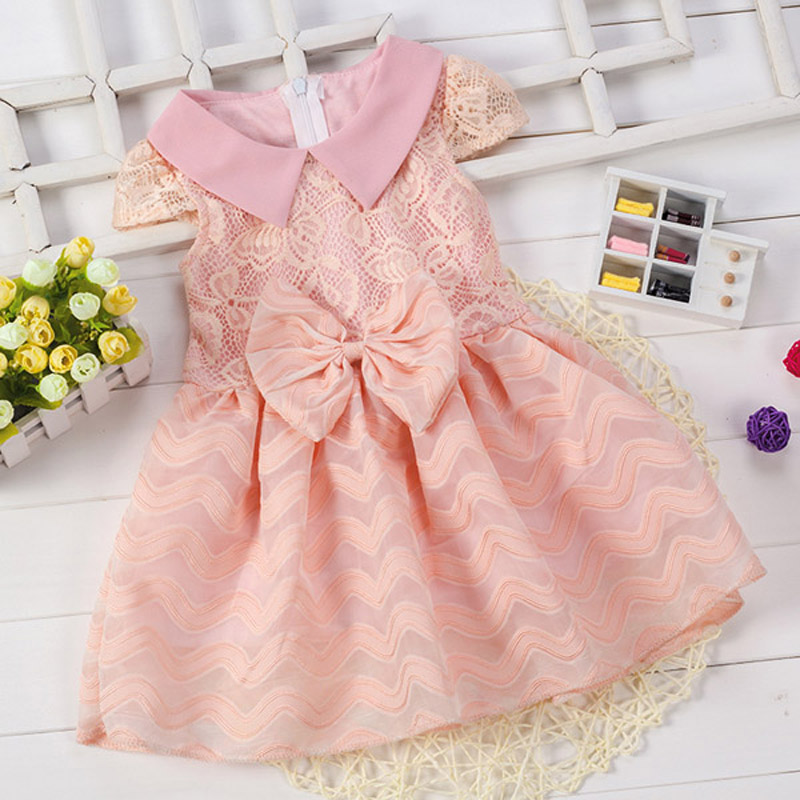 2016 summer girl kids clothing dress brands Wedding Lace Princess Dresses fashion Big Bow design Baby