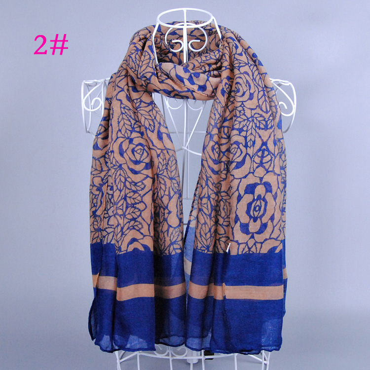 2016 spring and fall fashion floral scarf women rose print shawls and scarves China striped scarf(China (Mainland))