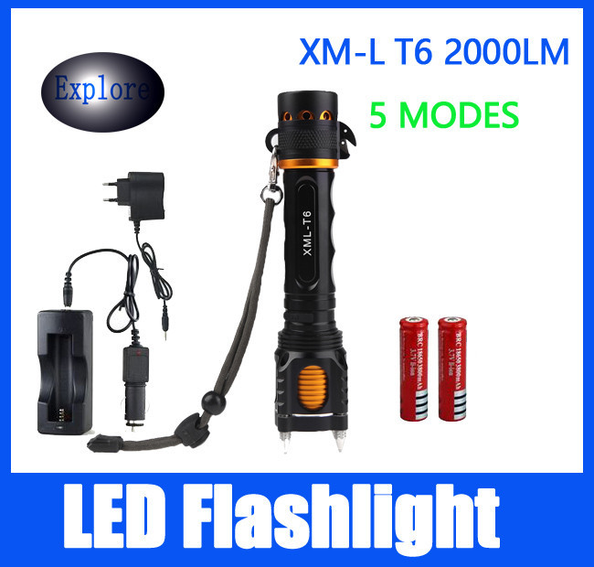Buy 5 model 2000 Lumen Led Cree XM-T6 Torch Camping Equipment Lamps With Rivet Knife Alarm+AC/Car charger +2*18650 battery light cheap
