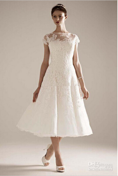 Сексуальная Чай Длины Свадебное Платье Свадебные Платья Кружева Аппликация Из Бисера Свадебные Платья Noiva Маленький Белый Кружевной Платье H17181