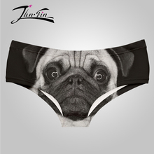 pug dog black white underwear cueca 3D wholesale sexy panties for women culotte femme lingerie briefs