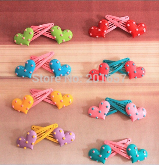 New Wholesale and Retail cute heart design hair clips children kids party wedding hairclips barette for kids and adult(China (Mainland))