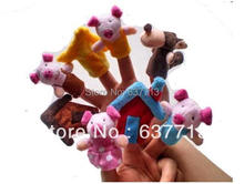 80pcs/lot Cartoon fairy tale The Three Little Pigs and the Big Bad Wolf Finger Puppet,Finger toy set of 8 (China (Mainland))