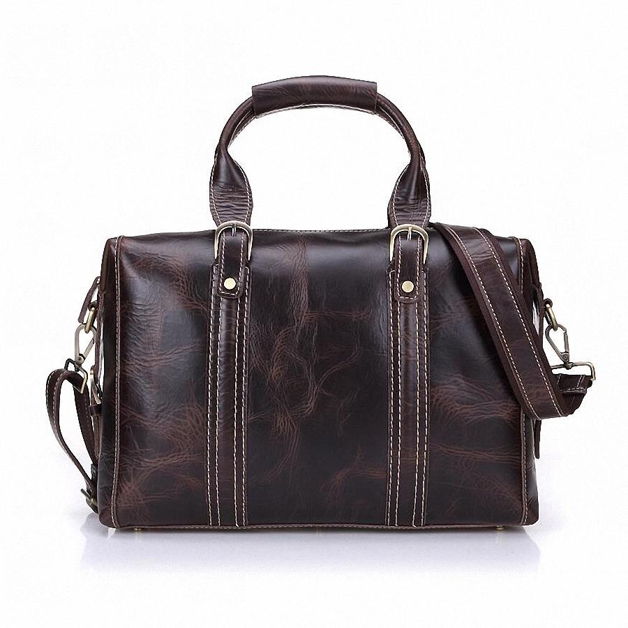 100% Genuine leather men's large travel duffle vintage travel bags suitcase handbag laptop messenger shoulder bag LI-1404(China (Mainland))