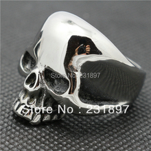 Size 7 to Size 15 Mens Boys Silver  Finger Rings 316L Stainless Steel Polishing Hot Saling Skull Ring(China (Mainland))