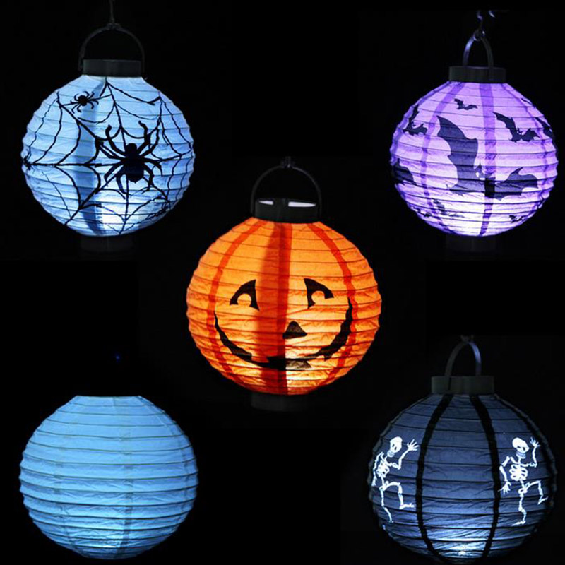 Halloween Pumpkin Lantern Decoration LED Paper Light Hanging Lamp Props Outdoor Party Supplies Sale J2Y(China (Mainland))