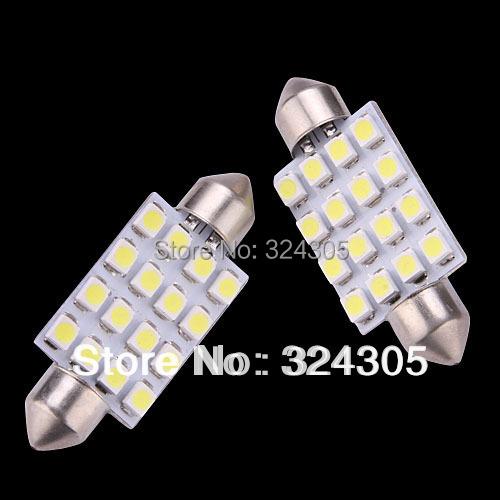2X 41mm 1210 3528 16 SMD LED White Car Dome Festoon Interior Light Bulbs Auto Car Festoon LED Licence Plate Dome Roof Car Light(China (Mainland))