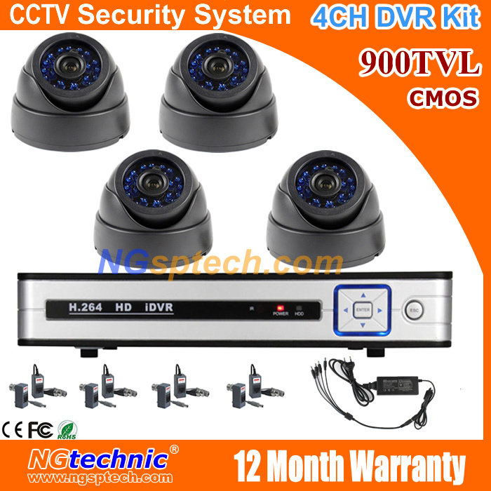 CCTV Security network Full D1 4CH hdmi DVR 900TVL IR waterproof camera CCTV system kit free shipping<br><br>Aliexpress