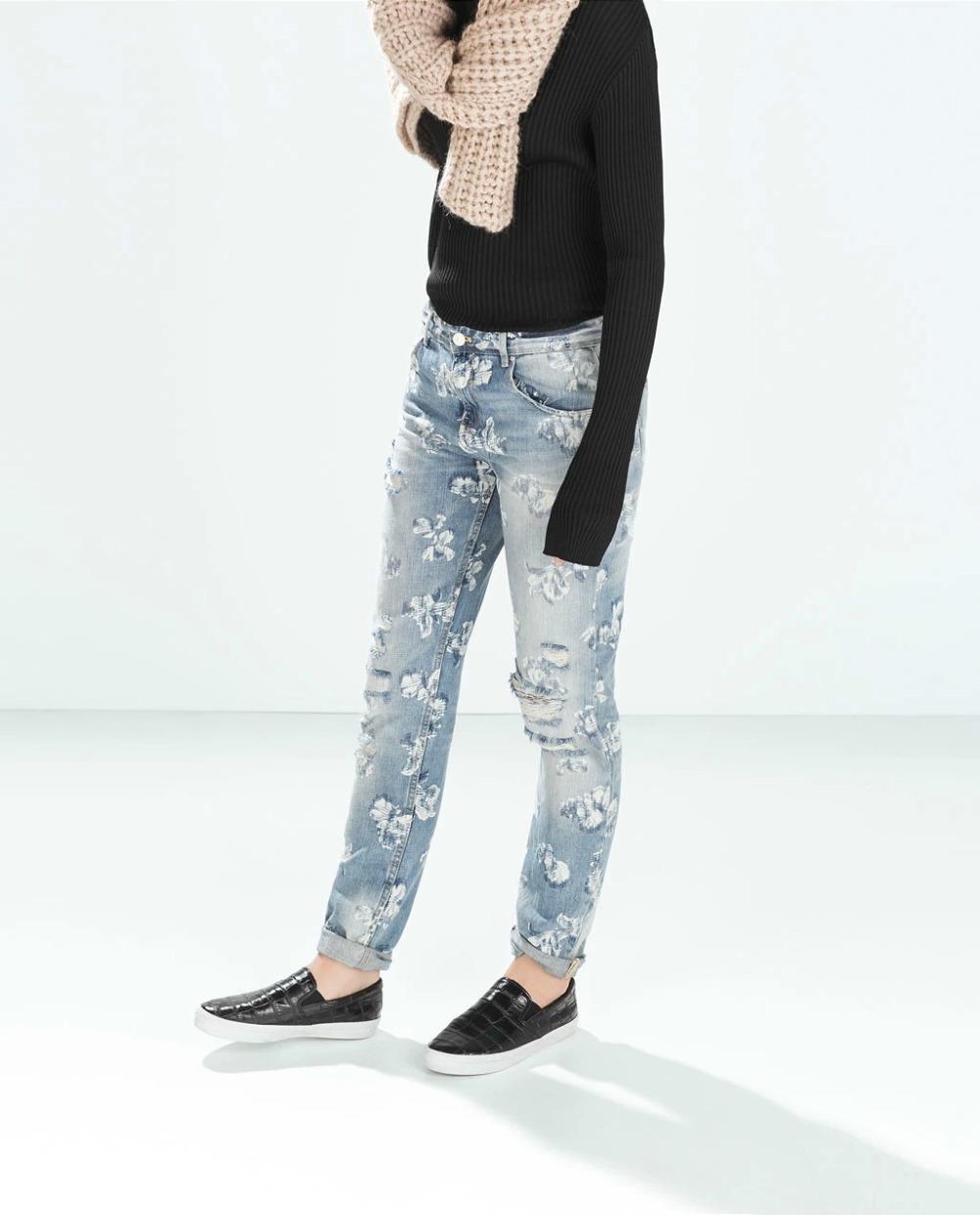 Fg12 Fashion 2015 Women Elegant Floral Print Holes Blue Denim Ripped Jeans Trouses Zipper Pockets Casual Slim Brand Skinny Pants(China (Mainland))