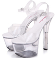 Sandals women Platform model T stage shows sexy high heeled shoes 15 cm high transparent waterproof