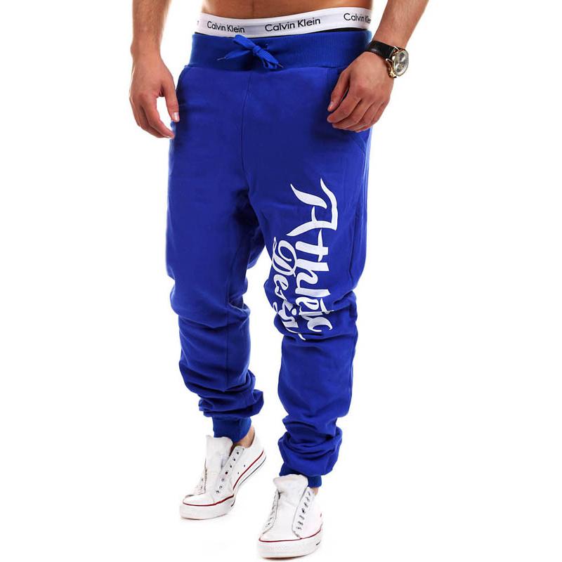 Clearance New Men's Jogger Pants Letterprinted Solid Color Cotton Drawstring Sports Bottoms Fashion Streetwear Men Harem Pants(China (Mainland))