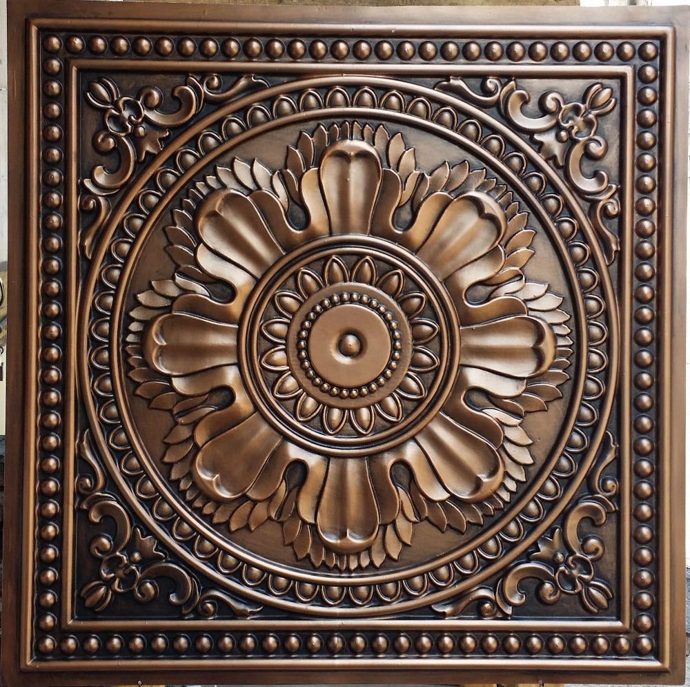 PL17 faux tin ceiling tiles antique copper color 3D