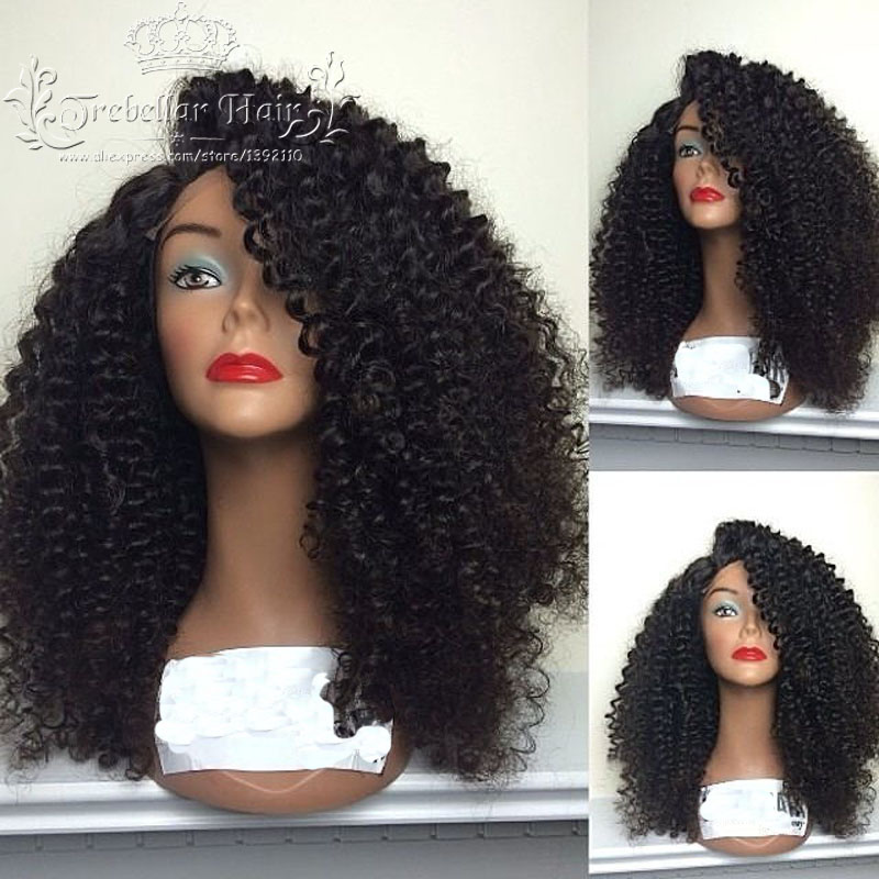 Glueless Brazilian Unprocessed Kinky Curly Full Lace Real Hair Wig With Baby Hair Lace Front Short Afro Kinky Curly Virgin Wigs(China (Mainland))