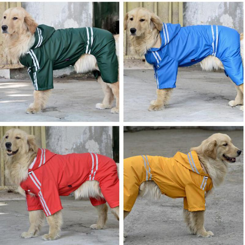 Dog Clothes Clothing Reflective Hoody Dog Raincoats Jumpsuits For Small Big Dog 2015 New Pet Product Waterproof Clothes(China (Mainland))