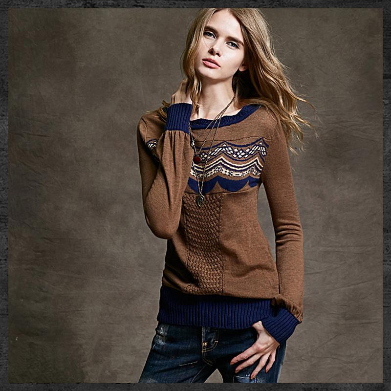 Free Shipping Yuzi Vintage&Retro sweaters Lantern Sleeve Slash-Neck Short Design Basic Women Sweater Pullover Sweater ZW1425Q(China (Mainland))