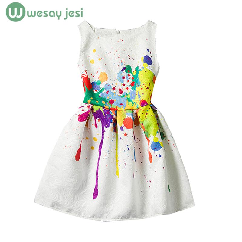 Girls dress Summer printing graffiti Butterfly Sleeveless Formal children Dresses Teenagers Party Dress girl kids clothes - WESAY JESI W Co. Ltd. Store store