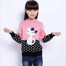 Fall Winter Girls New Large Knitted O-Neck Sweater Children's Cardigan Kids Fashionable Pullovers Polka Dot cat hooded sweater(China (Mainland))