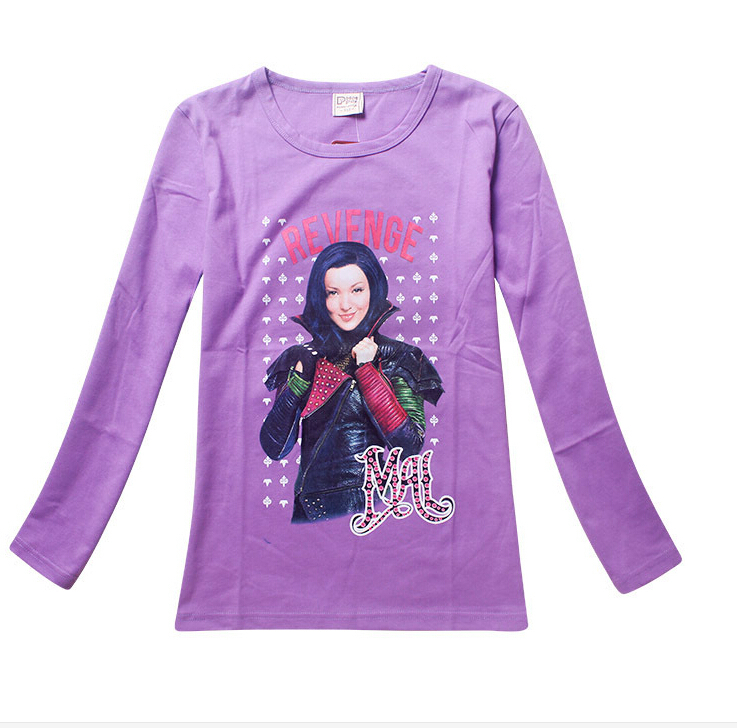 2016 New Descendants Girls Long-Sleeved T-Shirts Baby Girl Clothes Cartoon Cotton Girls Tops Blouse Kids Clothes 7-13 Year Black