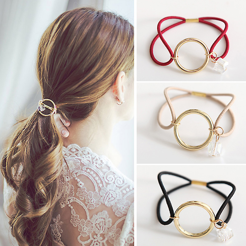 Women Hair Accessories Headwear Round Circle with Crystal Gum for Hair Girls Ornament Rubber Headbands Elastic Hair Bands(China (Mainland))
