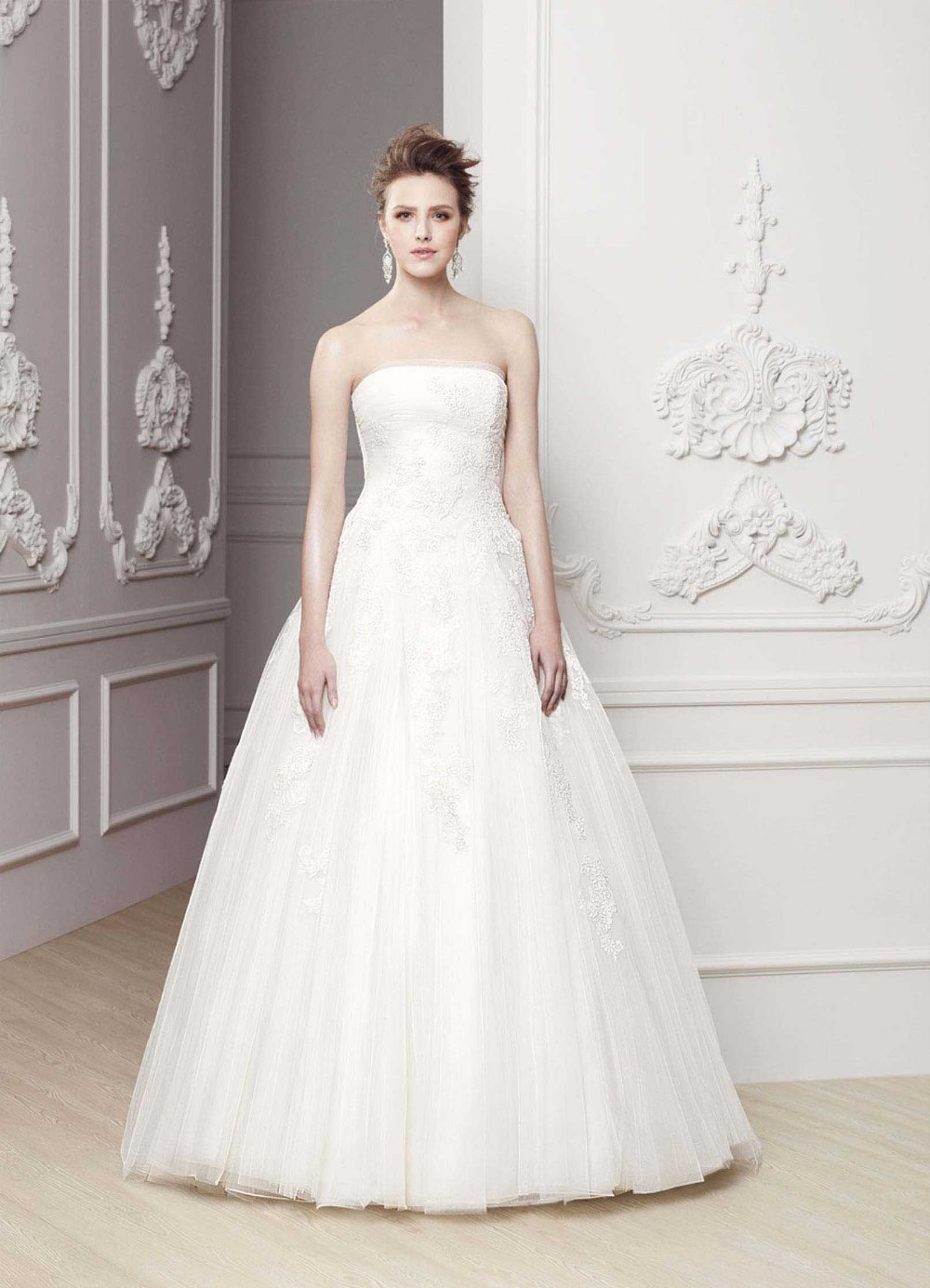 most beautiful strapless low back tulle ball gown enzoani