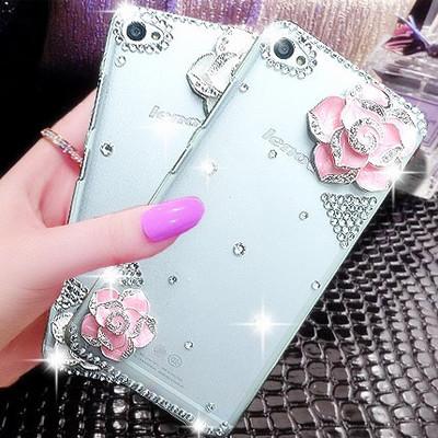 "For Lenovo K3 Note K50 4G 5.5"" Cell Phones Luxury Handmade Bling Diamond Glitter lady 3D Rhinestone camelliae Case(China (Mainland))"