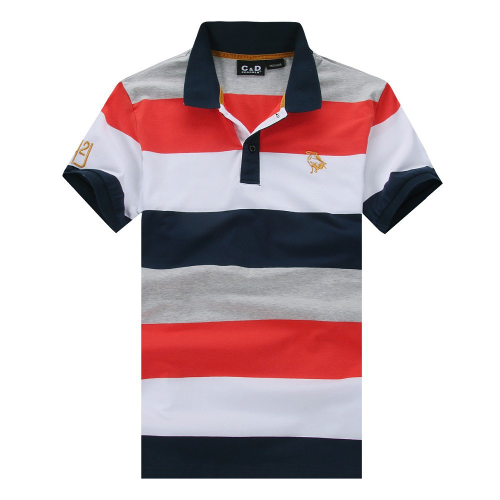 2015 Polo Shirts Men Striped Short Sleeve Cotton Golf Tennis Sportswear Singlet Collar Casual Man Poloshirts Camisa Polos M-XXL(China (Mainland))