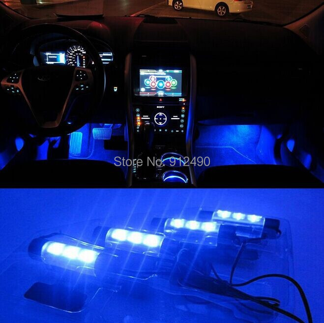 New! 4x 3LED Blue Car Charge interior accessories foot car decorative 4in1 lights daytime running light car styling and parking(China (Mainland))