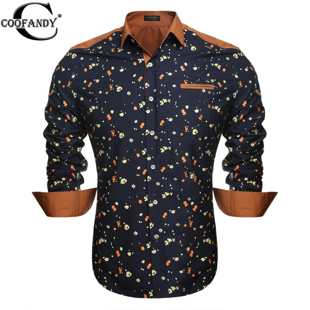 COOFANDY 2015 New Men Long Sleeve Shirt Luxury Stylish Mens Printing Slim Fit Shirt Casual Shirts Mens Dress Shirts 2 Color(China (Mainland))