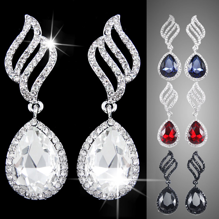 4 color fashion austrian crystal earrings bridal blue small earrings for women crystal drop earrings with stones jewelry ers-g82(China (Mainland))