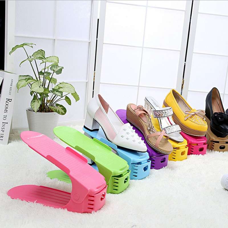 Colorful Plastic Shoes Storage Rack One-piece Shoes Organizer Shelf Living Room Fashion Women High-heeled Shoes Rack Holder(China (Mainland))